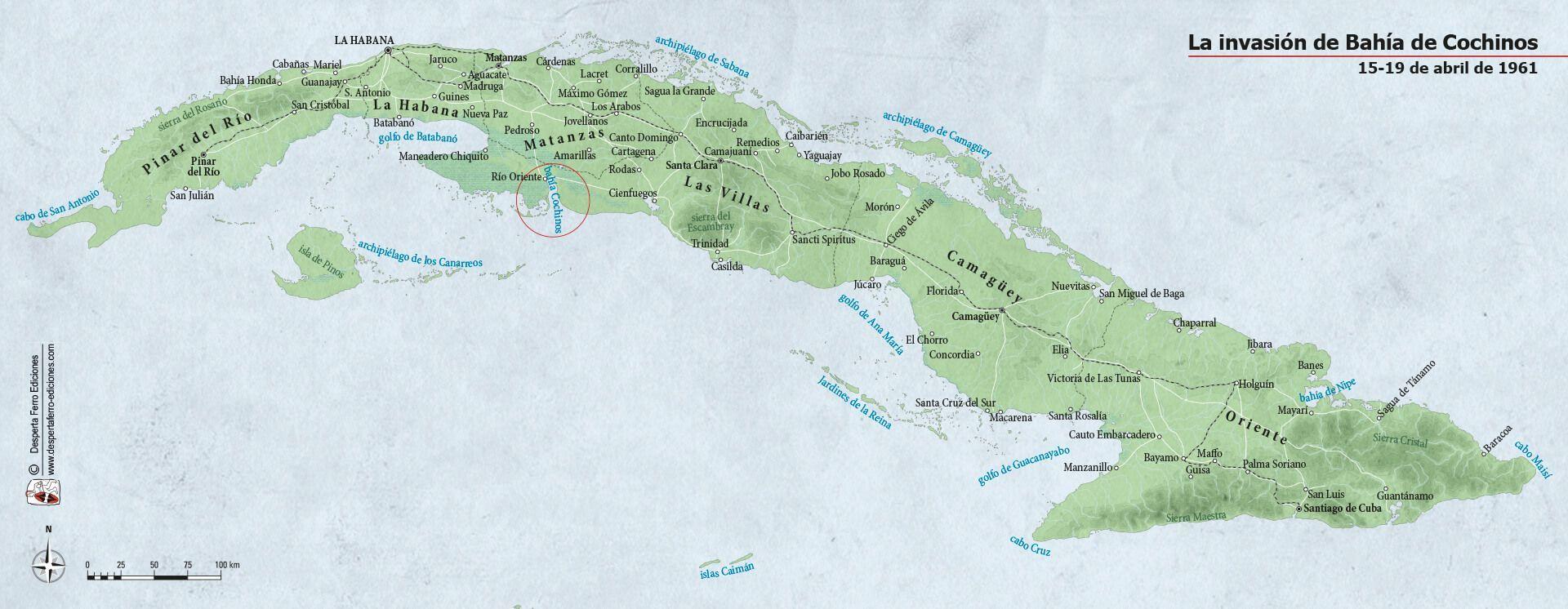 Mapa Cuba Bahía de cochinos
