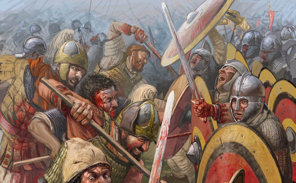 Fragmento de la ilustración de portada de Antigua y medieval n.º 50: La batalla de Adrianópolis. © Radu Oltean.