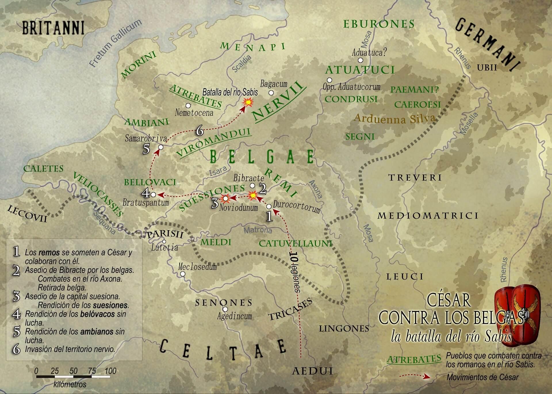 La campaña de Cesar contra los belgas