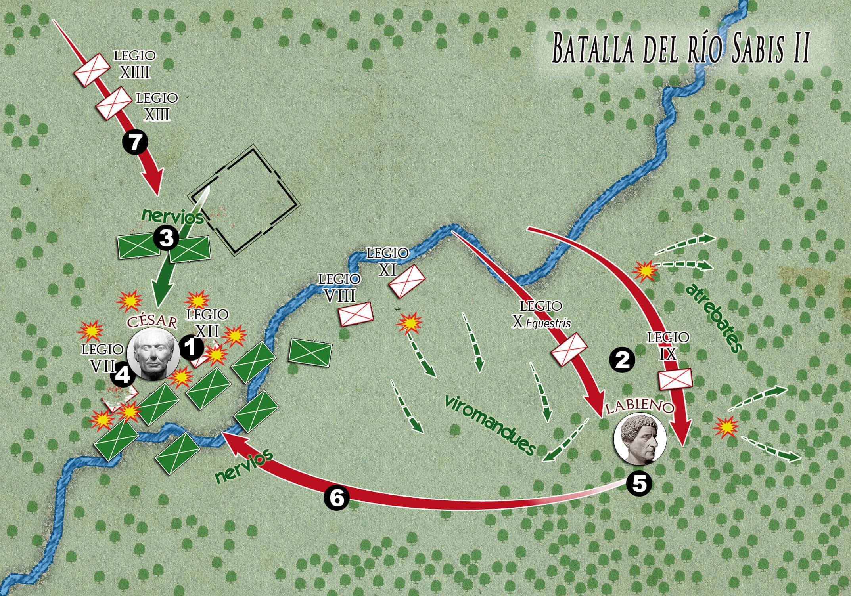 batalla del río Sabis Julio César