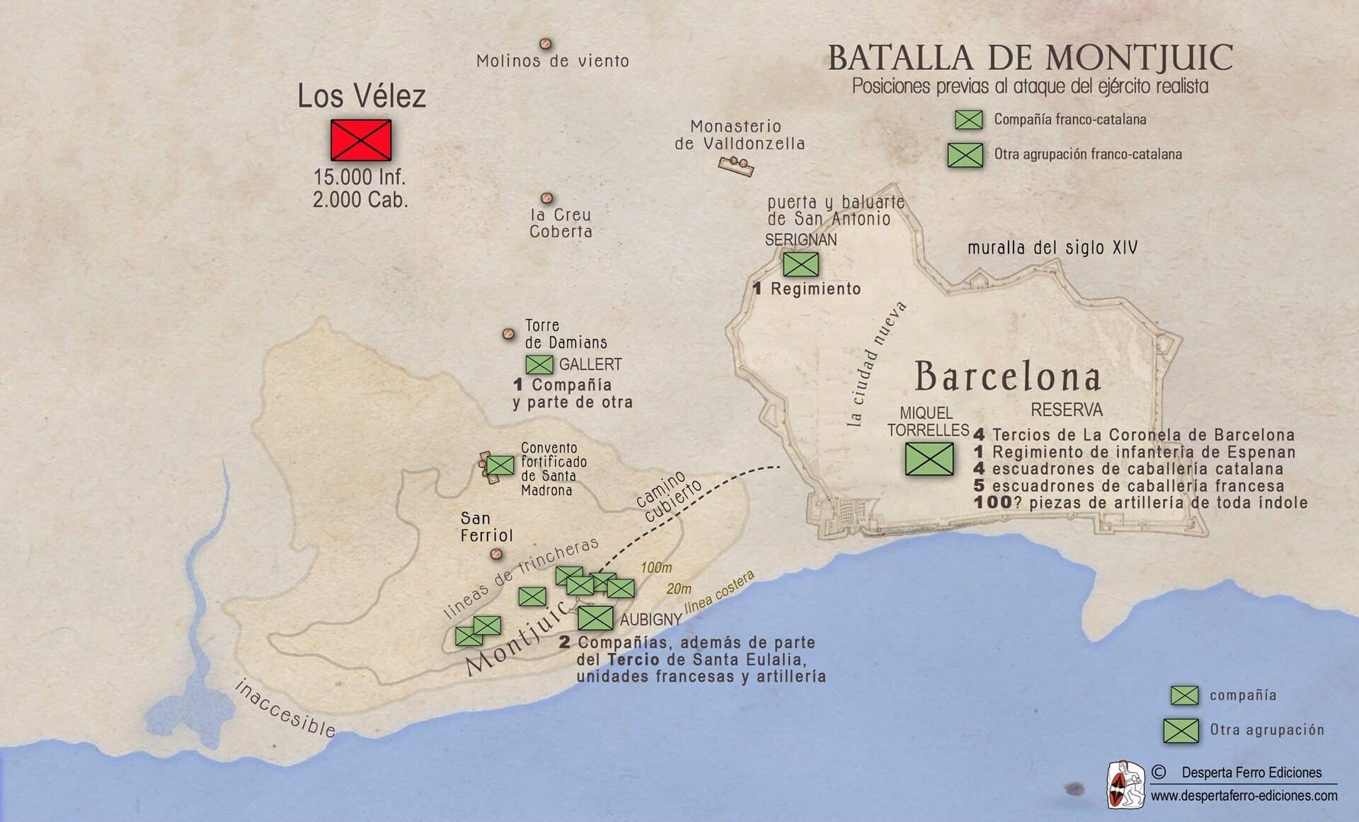 La batalla de Montjuic 1641 mapa
