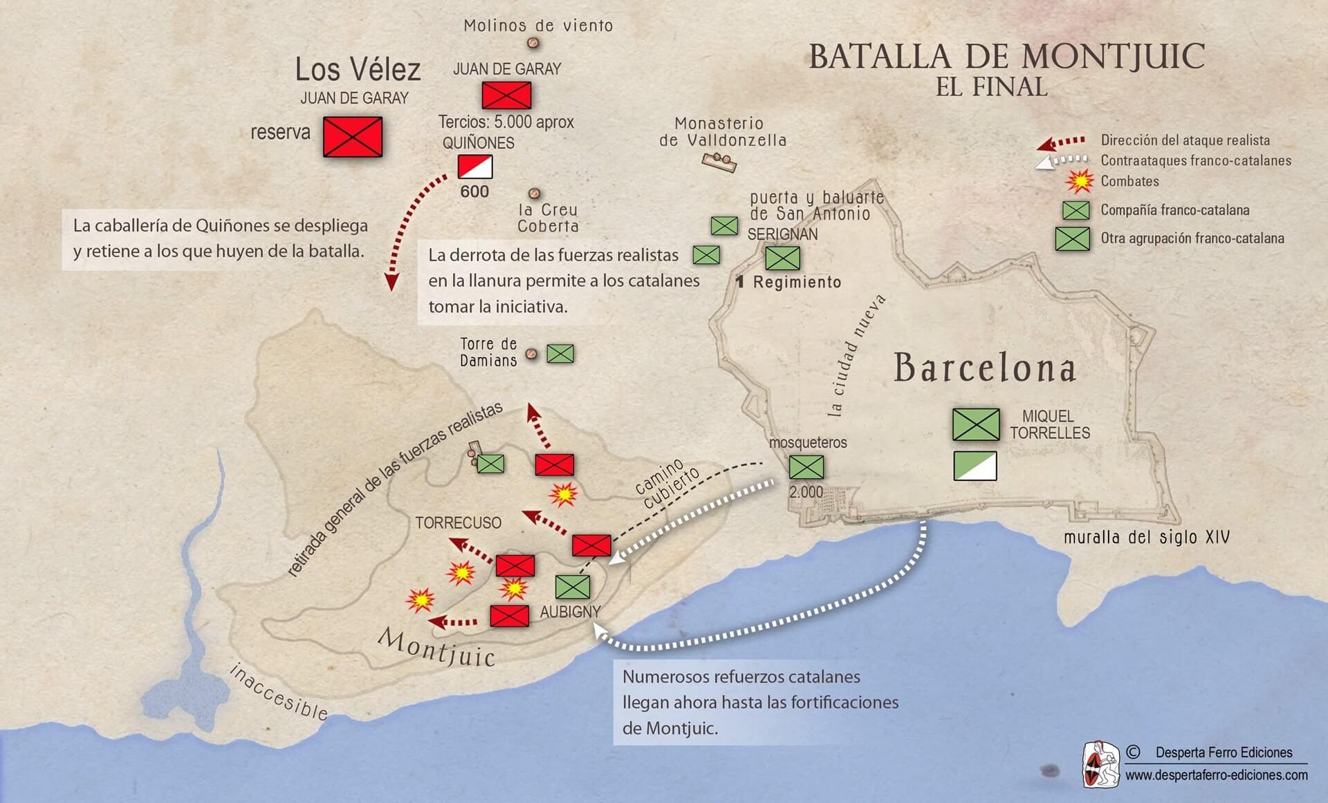 La batalla de Montjuic mapa