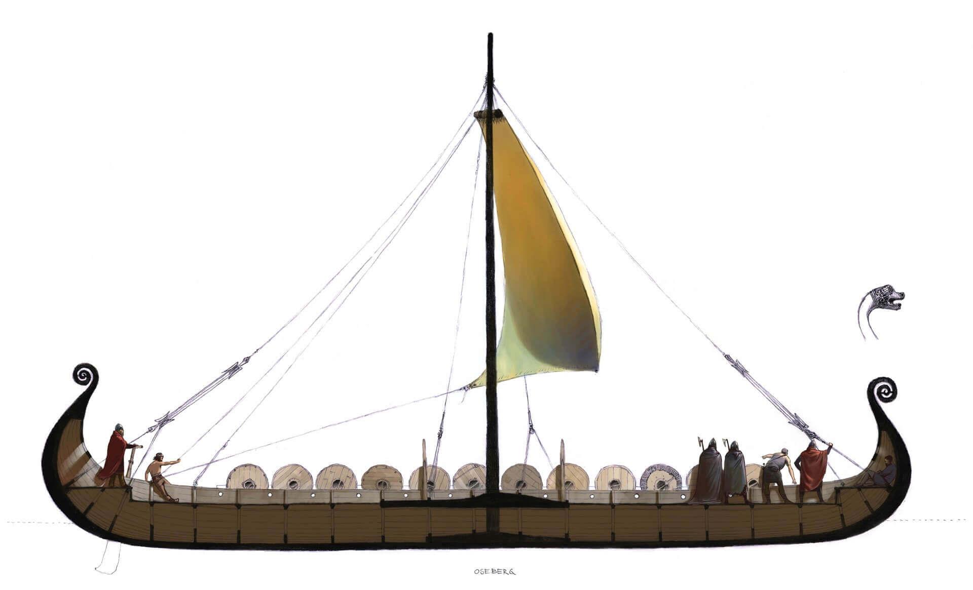 Sección del barco vikingo de Oseberg