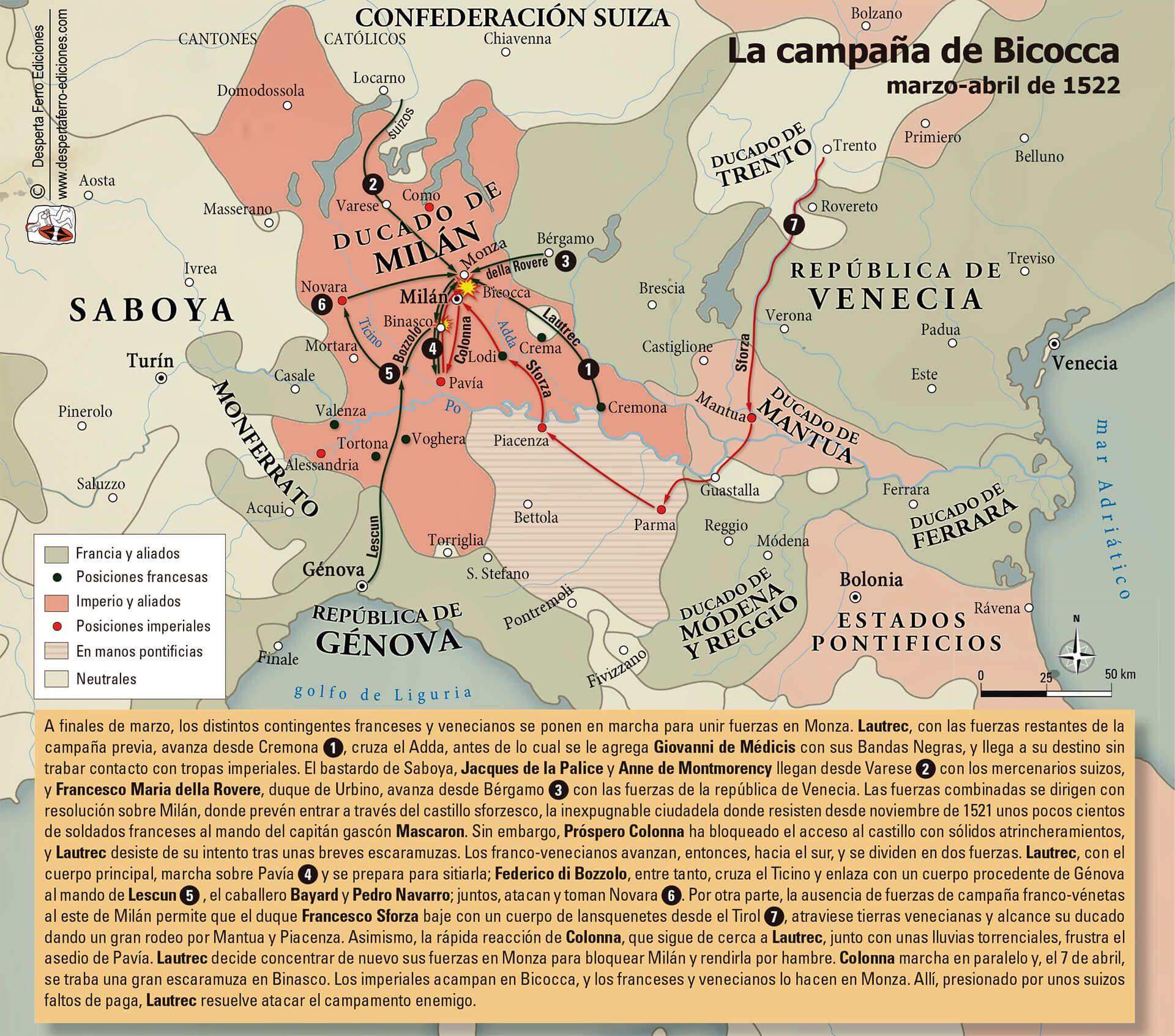 Mapa campaña batalla de Bicocca 1522
