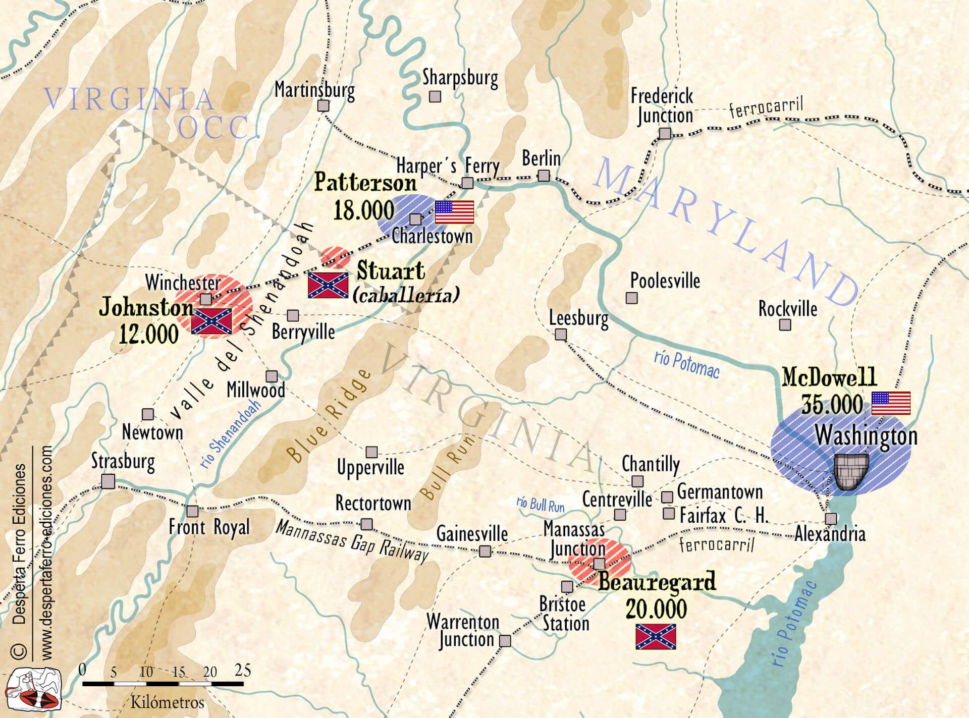 mapa Guerra Secesión Bull Run