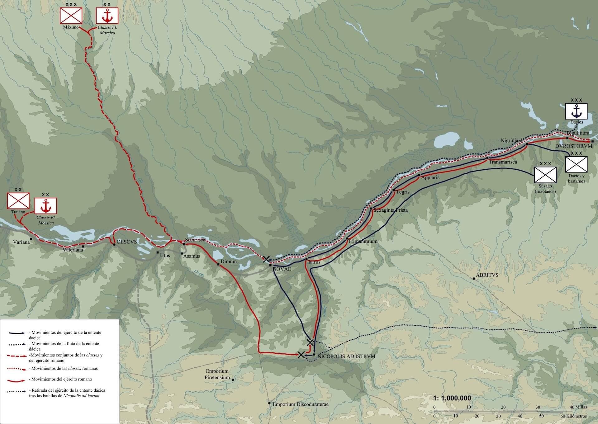 Mapa del contraataque romano en Mesia Inferior en 101 d.C.