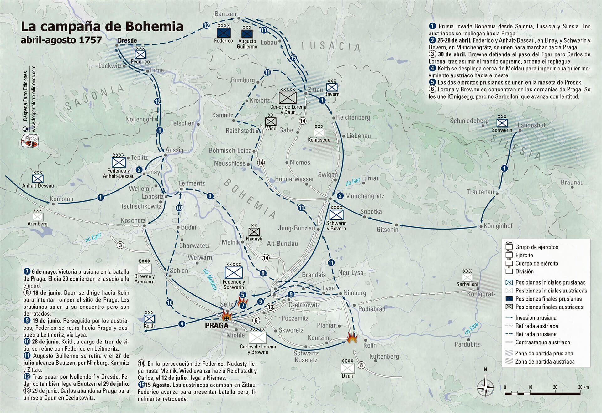 Mapa campaña de Bohemia 1757 Federico el grande Prusia Austria