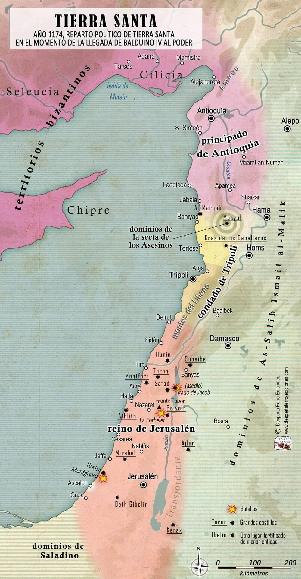 mapa Tierra Santa Cruzadas Balduino IV