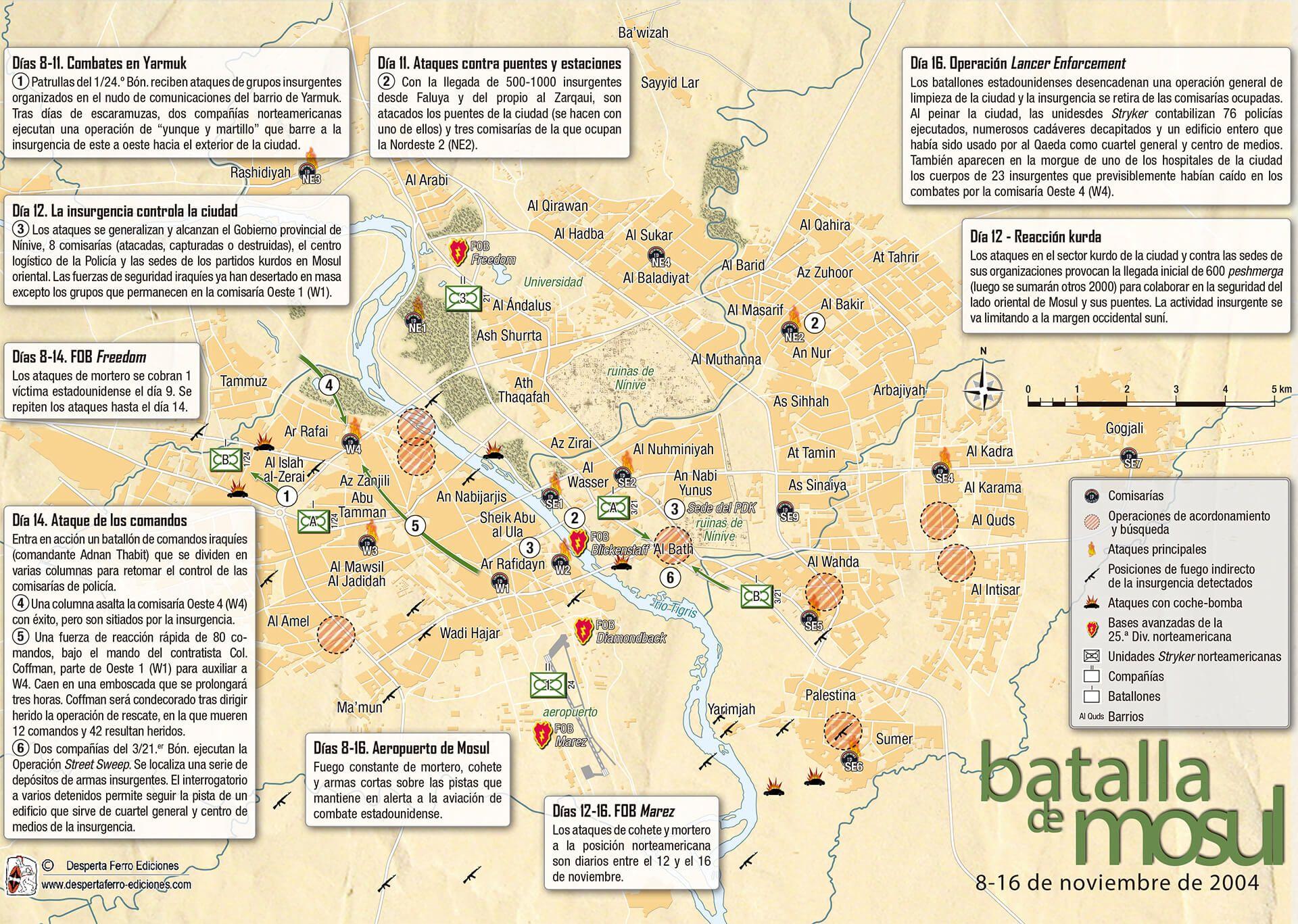 mapa batalla de Mosul 2004