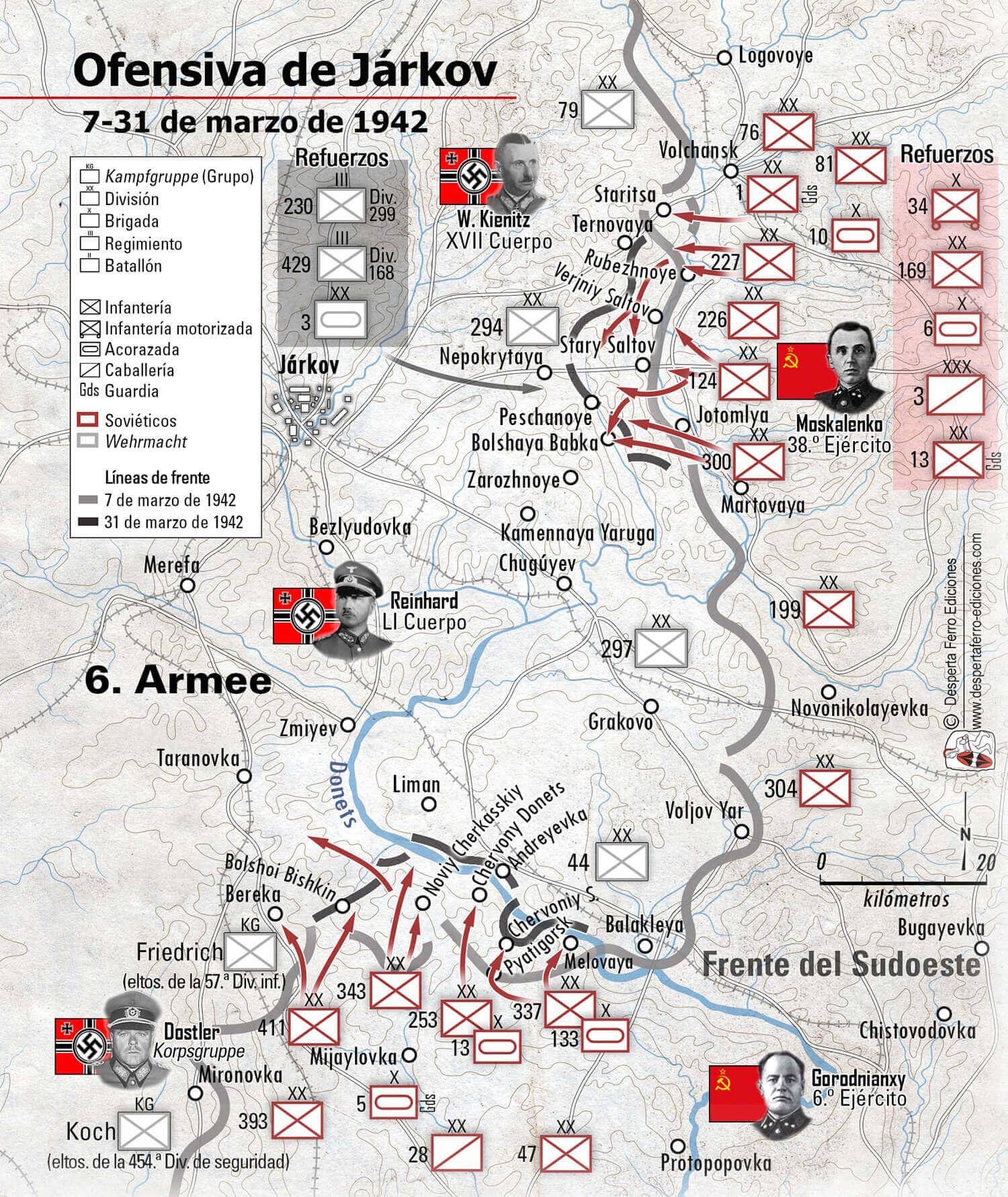 Mapa de la ofensiva de Járkov (7 al 31 de marzo de 1942)