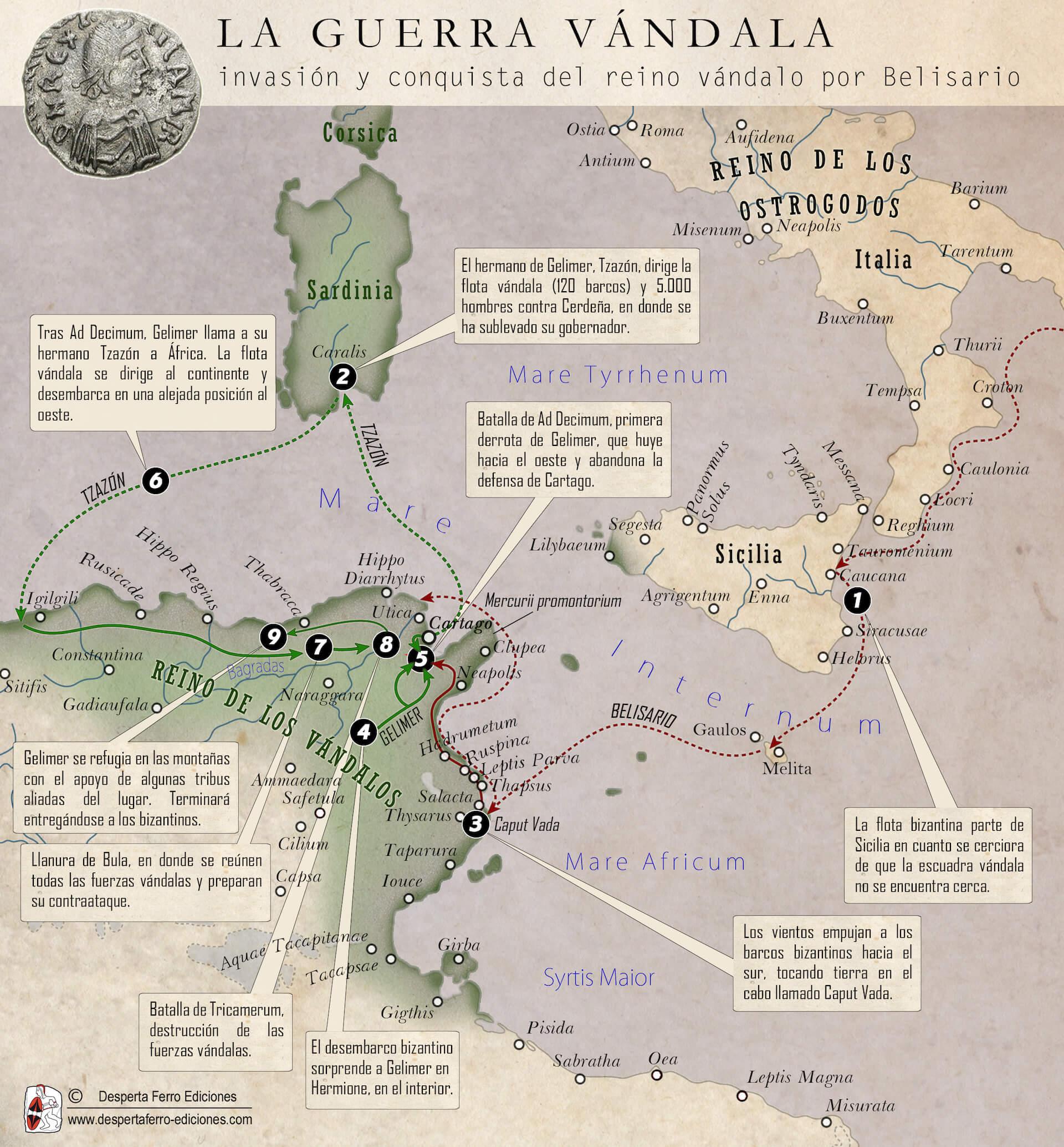 mapa conquista reino vándalo belisario Ad Decimum