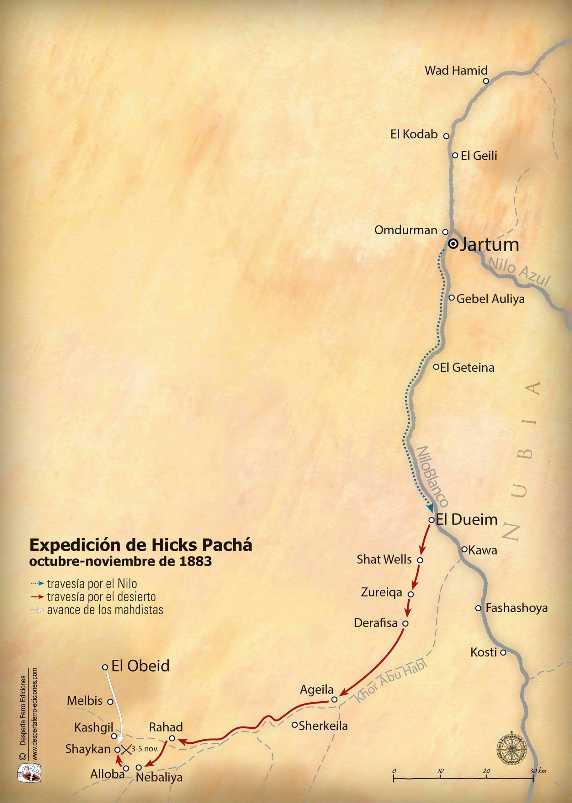 Mapa Expedición Hicks Pachá rebelión mahdista