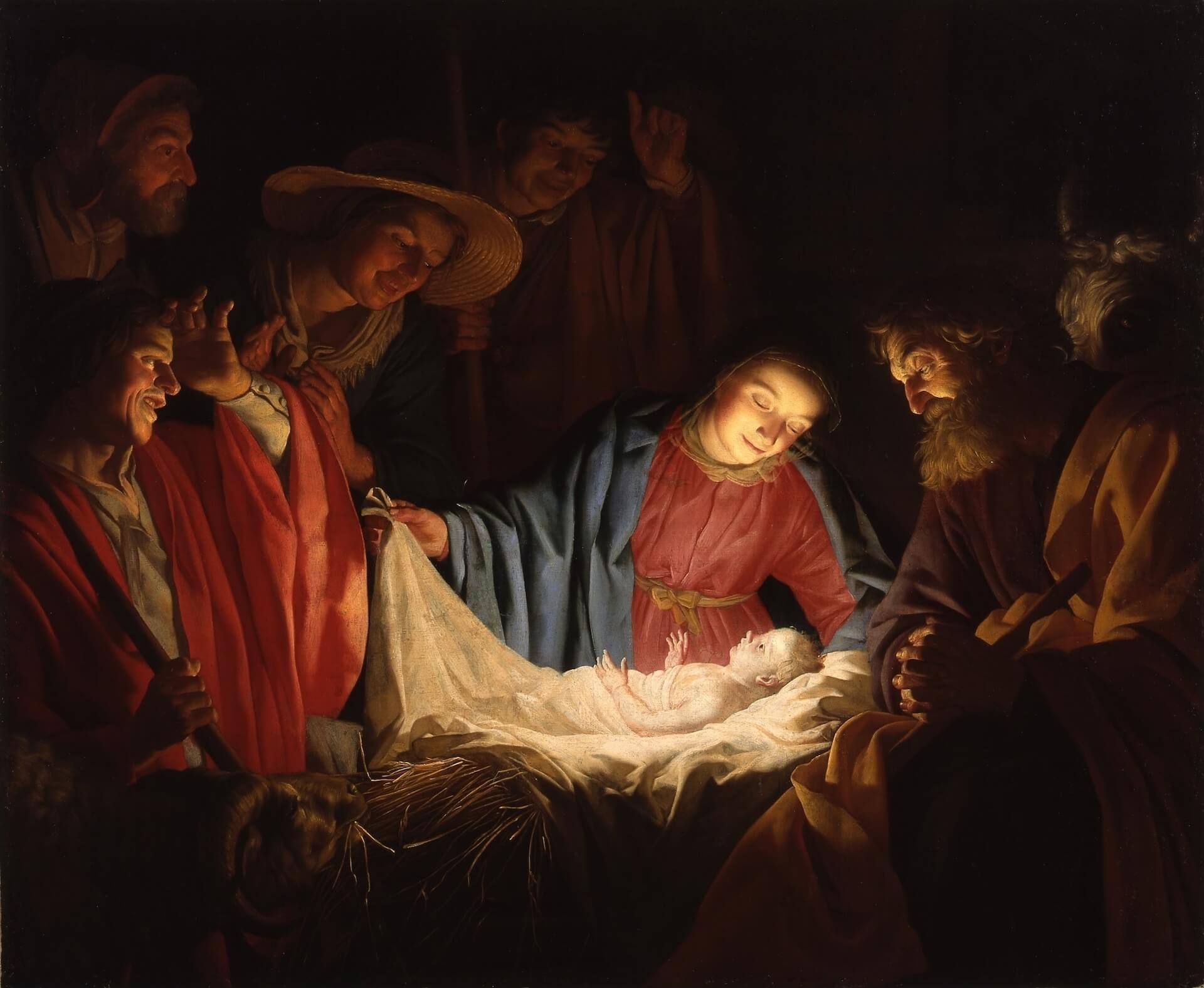 adoración de los pastores Honthorst nacimiento Jesús de Nazaret