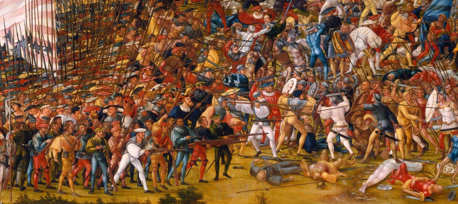 Rodeleros en acción en La batalla de Alesia choque de picas