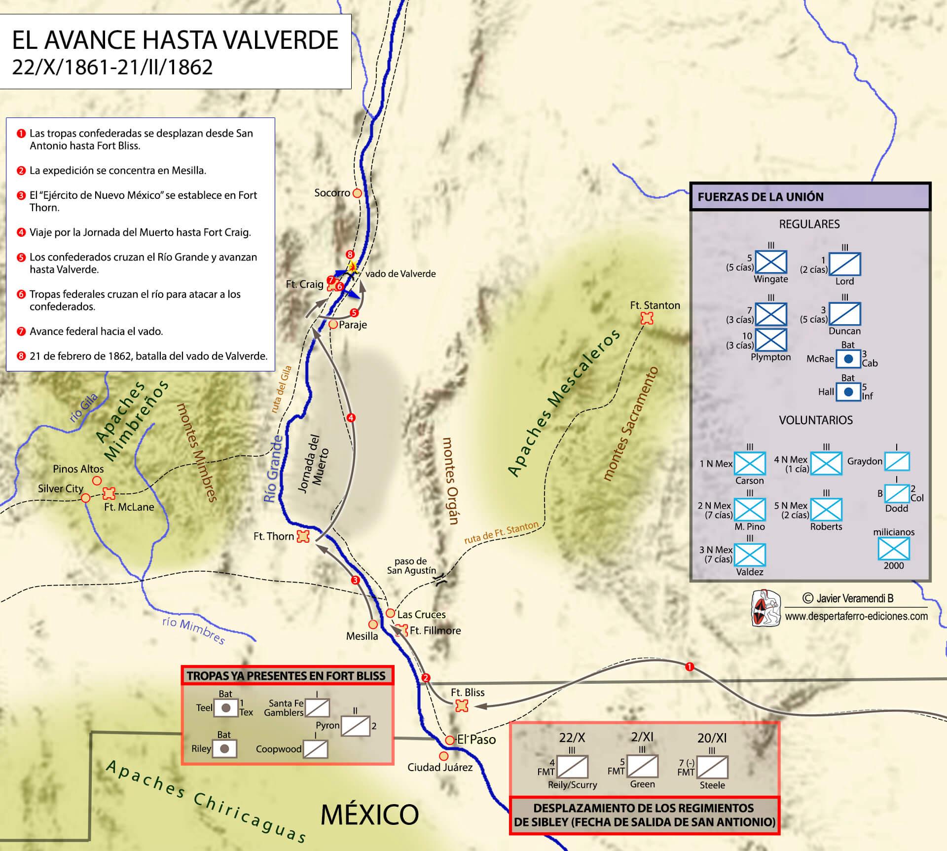 Imperio confederado en el río grande campaña de Valverde Texas Nuevo México