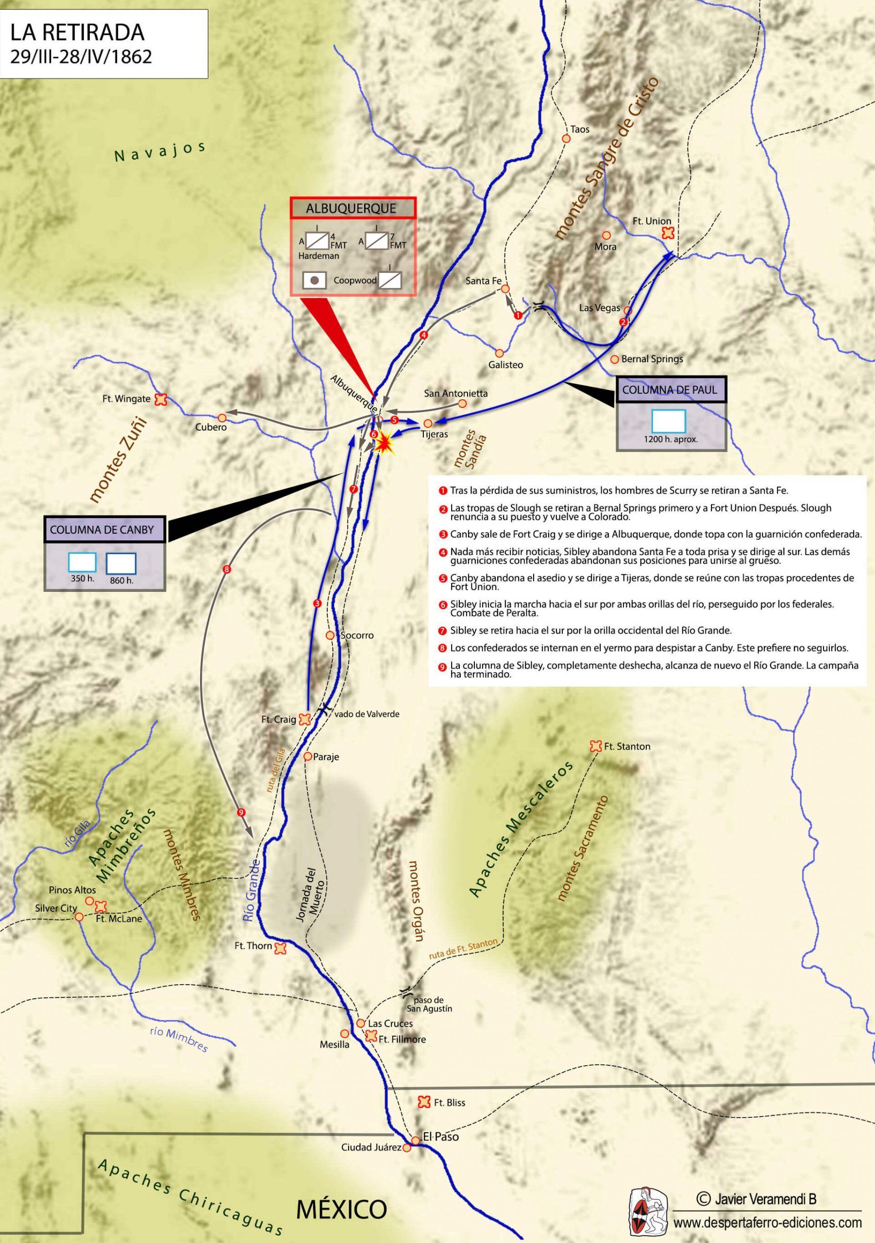 Imperio confederado en el río grande campaña de Pigeon's Farm Texas Nuevo México