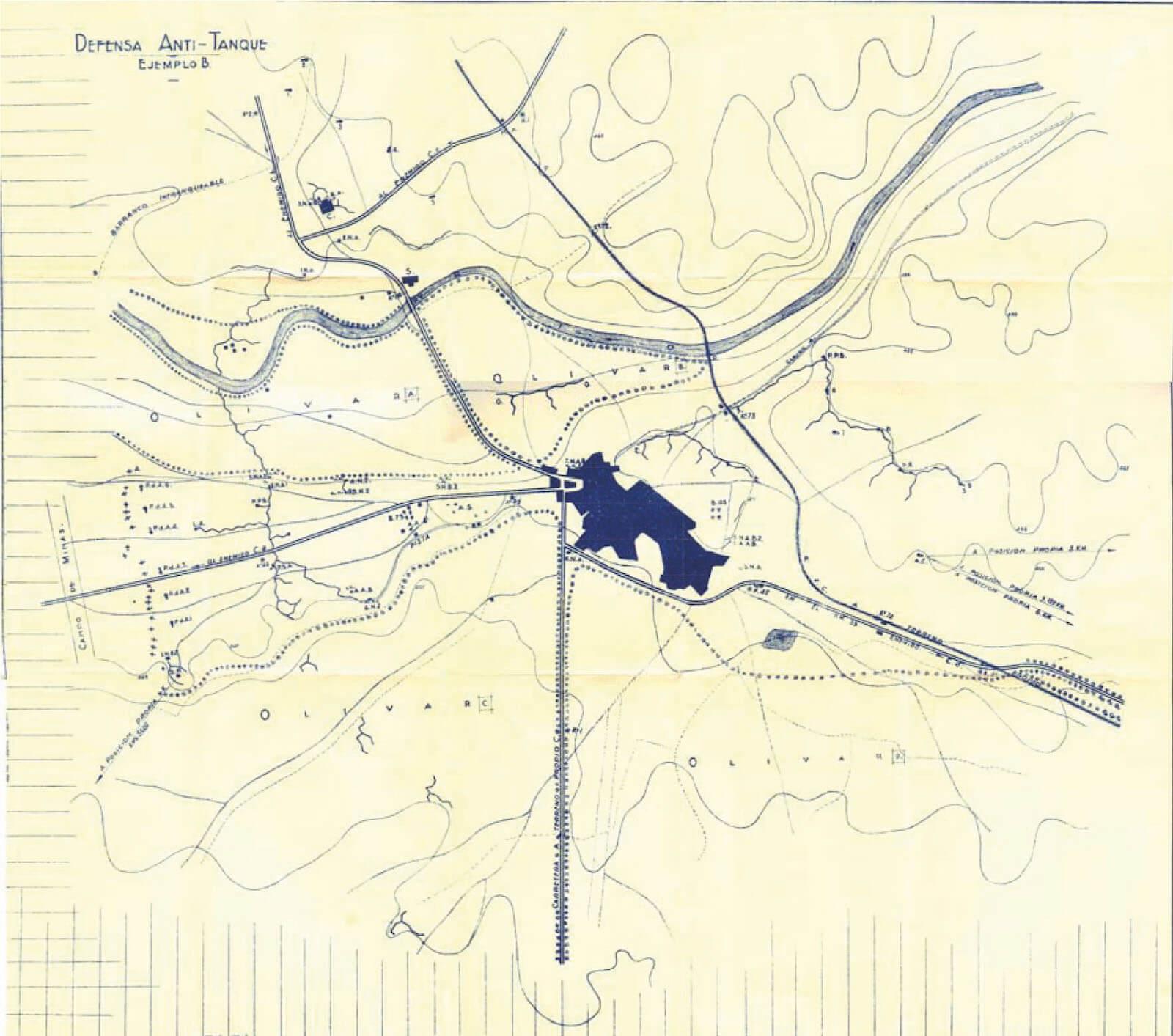 capitán Adrada, Defensa anti-tanque mapa defensas Belchite