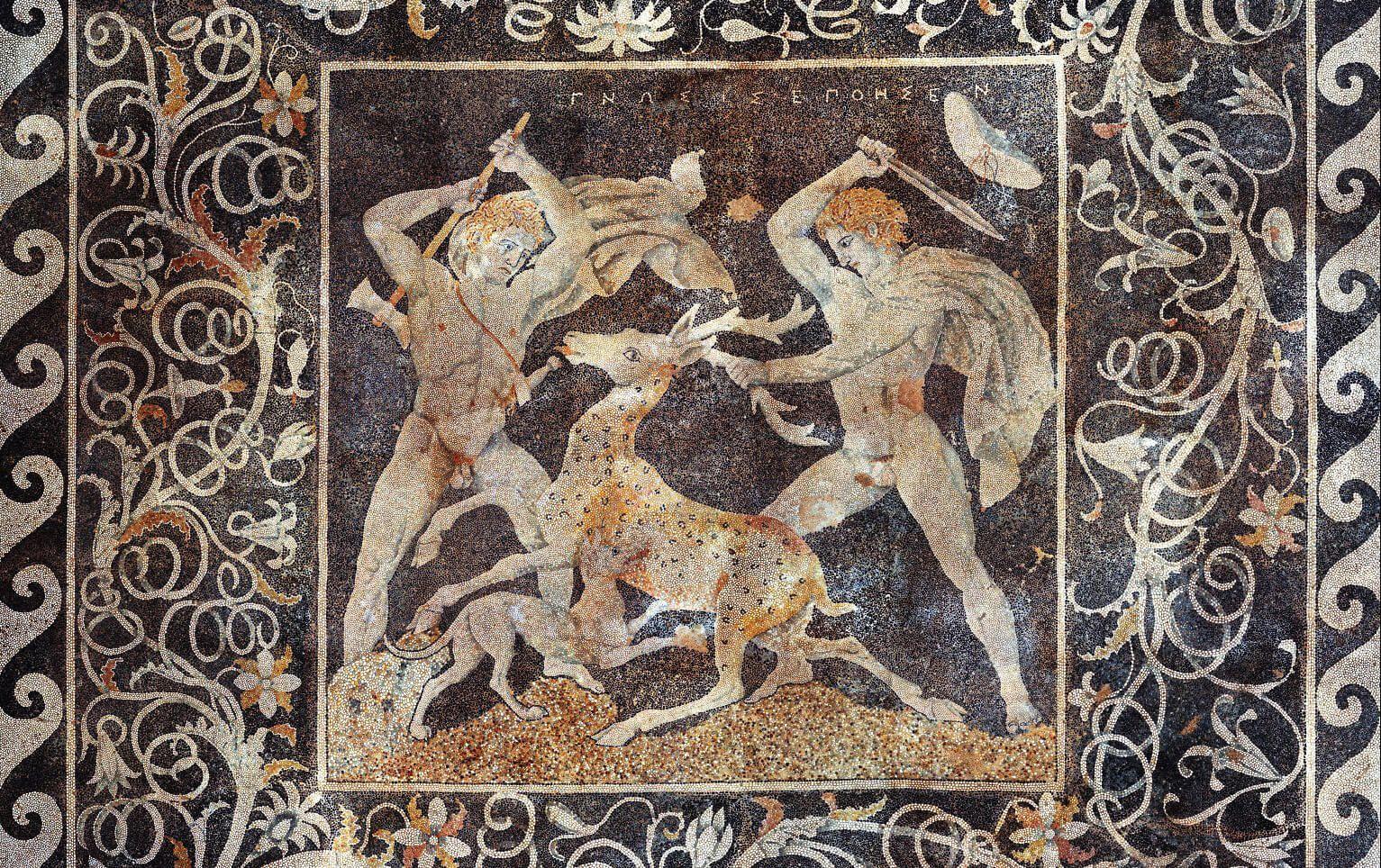 Mosaico caza del ciervo Pella Macedonia