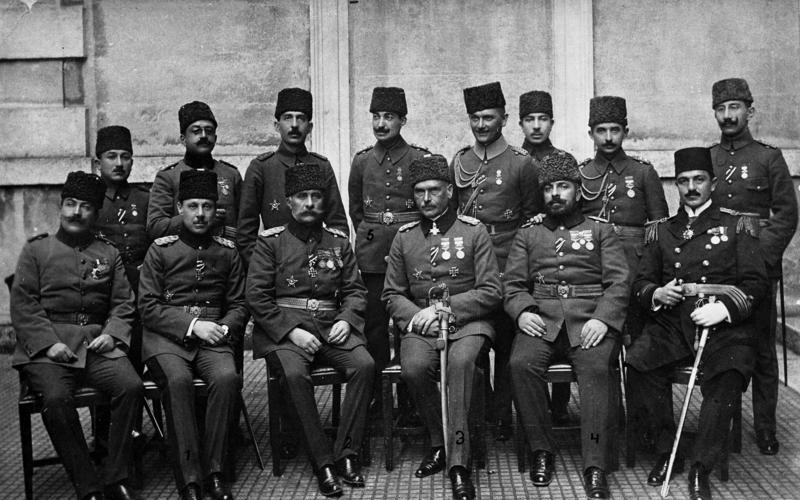 El estado mayor turco de la Campaña del Sinaí y Palestina, 1914.
