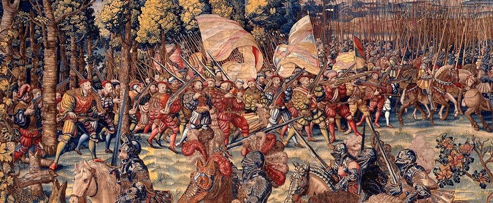 Guerra. Detalle tapiz batalla de Pavía 1525 revolución de la guerra
