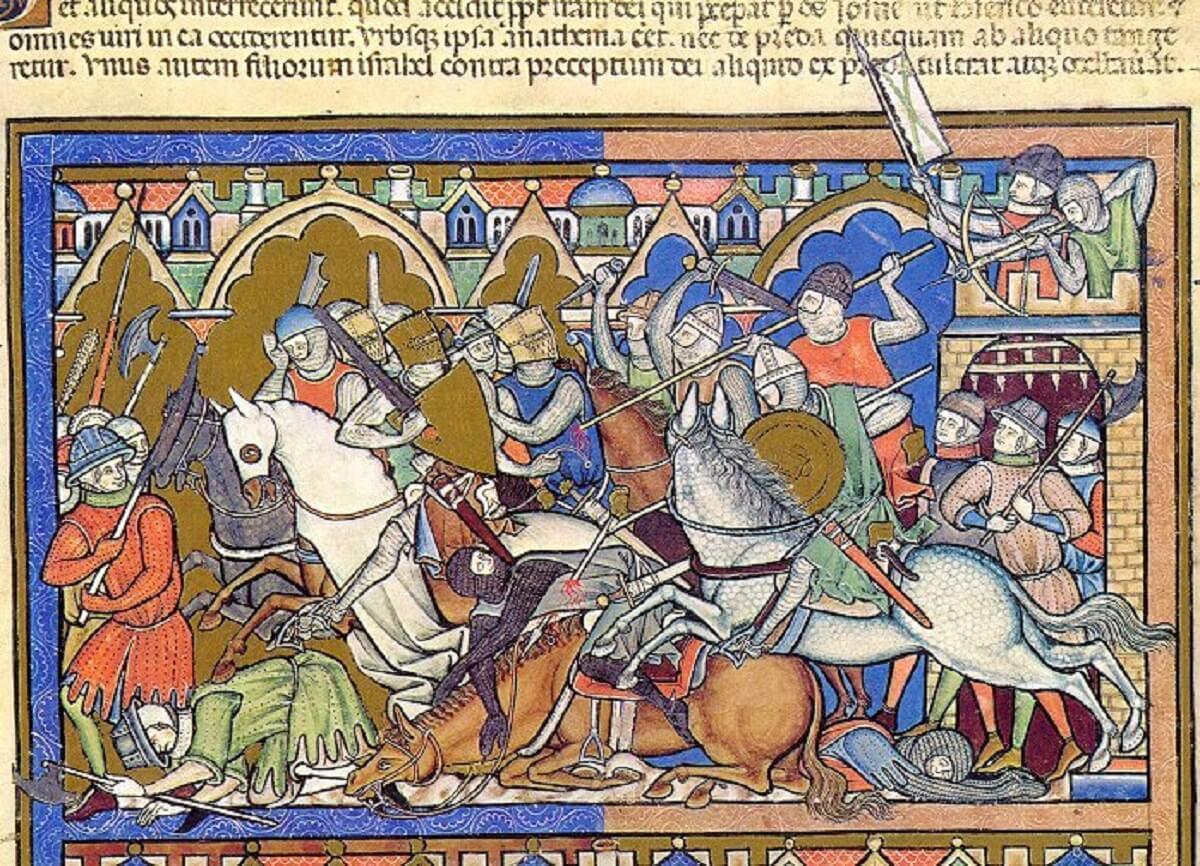 Cruzada 1309 detalle de la Biblia de Maciejowski o Biblia de los Cruzados